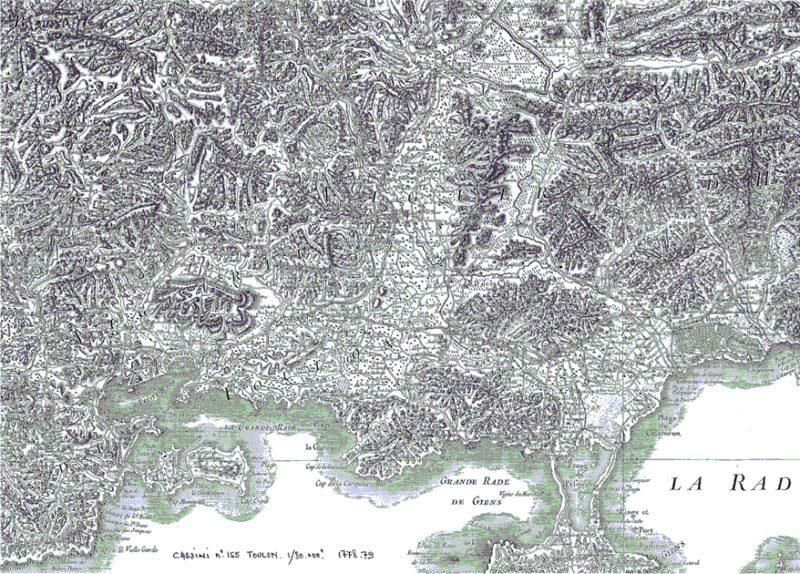 Carte de Cassini-N° 155, Toulon-1778-1779