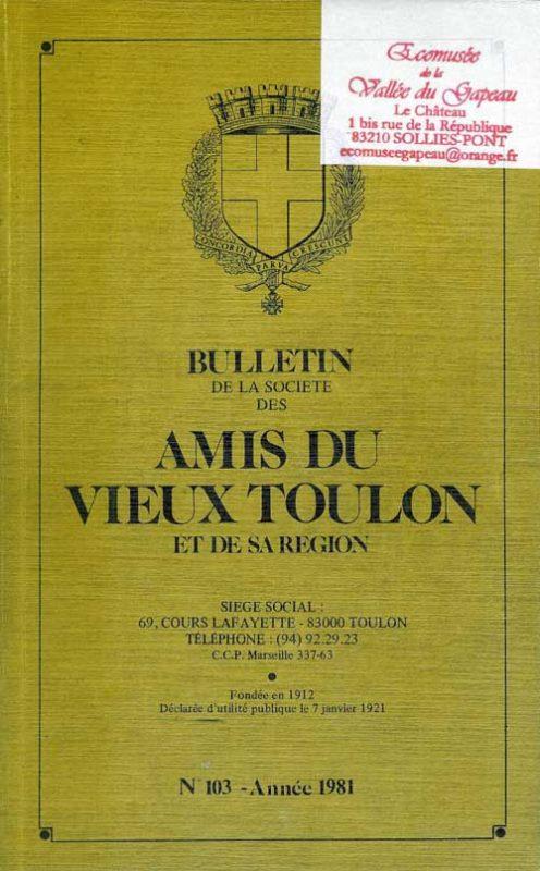 Bulletin de la société des amis du vieux Toulon et de sa région, n° 103