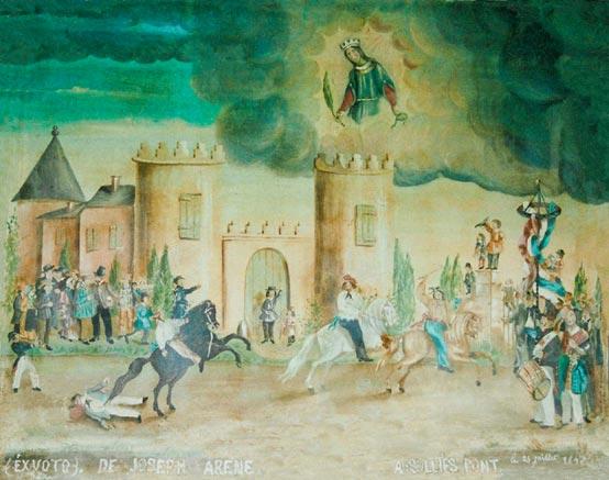 « EXVOTO DE JOSEPH ARENE, SOLLIES-PONT, le 25 juillet 1845 ». Huile sur toile, 60 X 74cm.(Collection privée.)