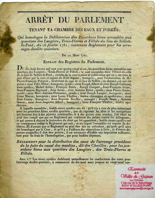 Arrêt du Parlement tenant la Chambre des Eaux et Forêts contenant le règlement des arrosants des quartiers des Laugiers, des Trois-Pierres et des Fillols