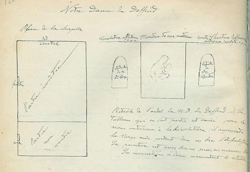 Cahier QQ, p. 126, Chapelle N-D du Deffend