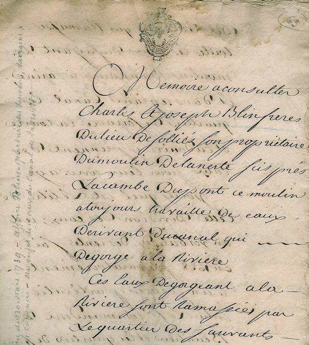 Mémoire Blin, 1739