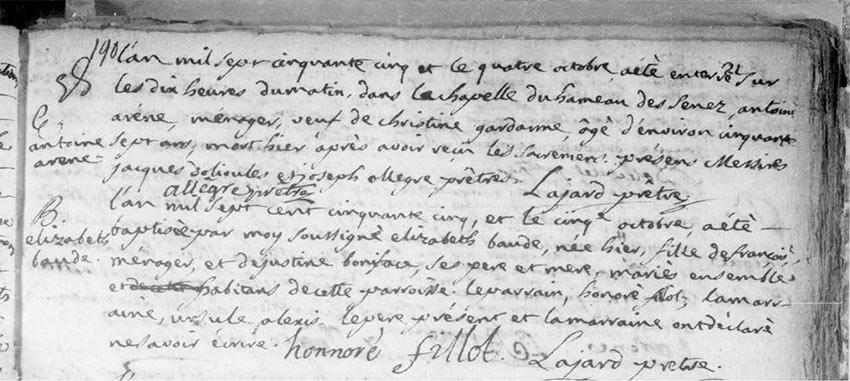 1755 Décès d'Antoine Arène, Solliès-Pont?