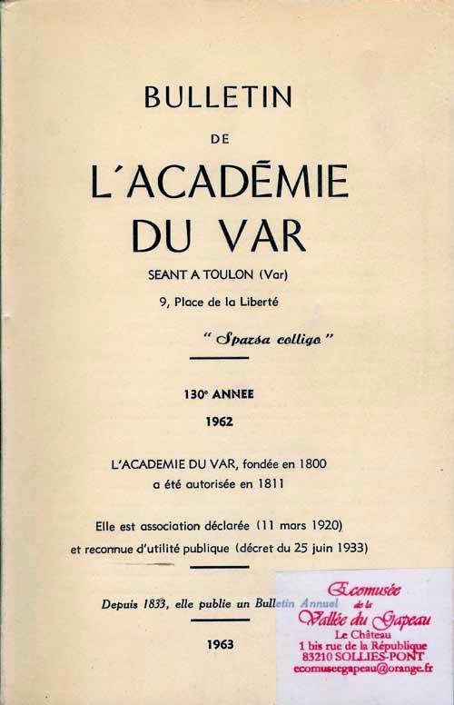 Bulletin de l'académie du var, 1963.