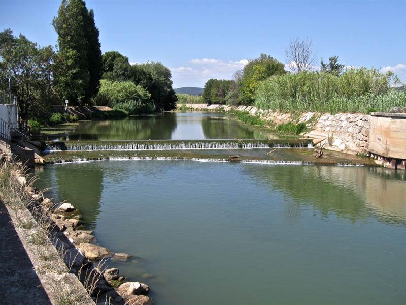 Hyères, barrage anti-sel, sur le Gapeau.