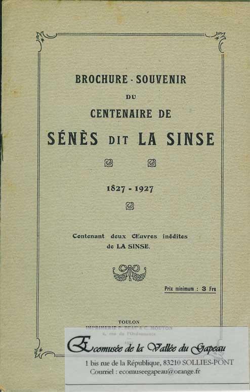 Brochure – Souvenir du centenaire de Sénès dit La Sinse.
