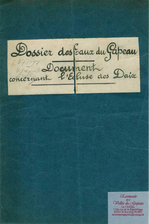 Document concernant l'écluse des Daix.