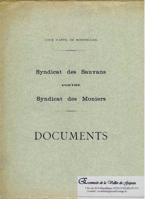 Documents syndicat des Sauvans contre syndicat des Moniers.