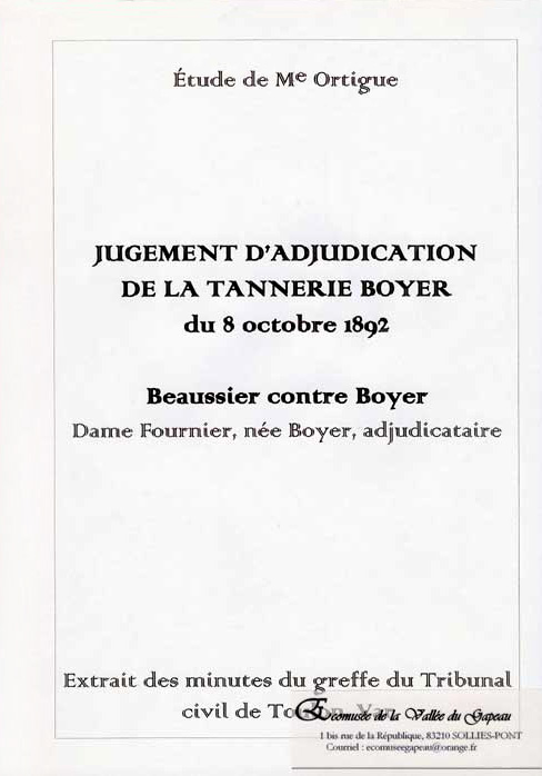 Jugement d'adjudication de la tannerie Boyer