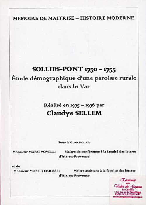 Solliès-Pont 1730 - 1755, Claudye Sellem.