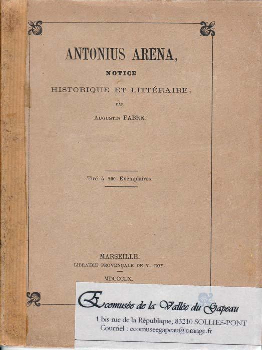 Antonius Arena, Notice historique et littéraire, Fabre