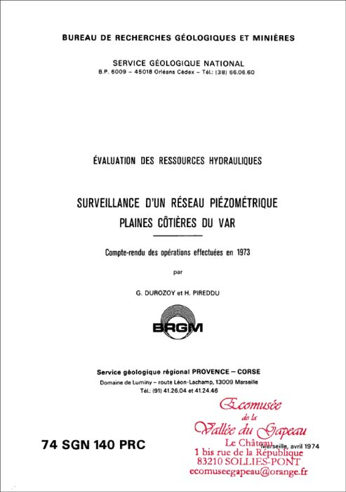 Surveillance d'un réseau piézométrique, plaines cotières du Var.