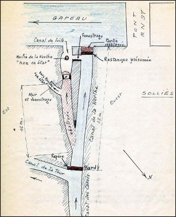 Le canal et le moulin de la Nerte (Dessin)