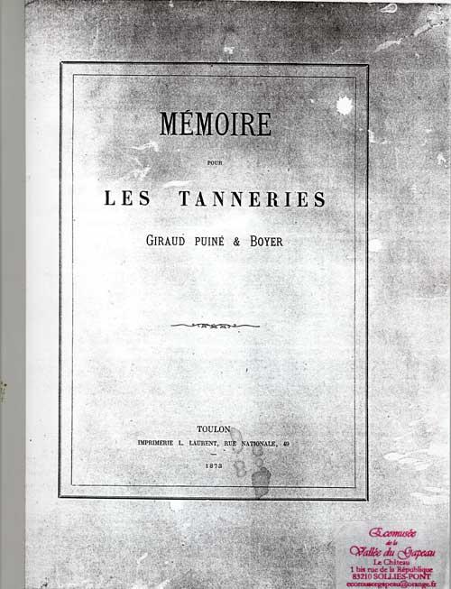 Mémoire pour les tanneries