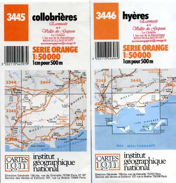Cartes IGN Collobrières et Hyères