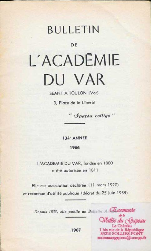 Bulletin de l'académie du Var 1966