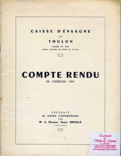 Caisse d'Épargne de Toulon, Compte rendu 1957