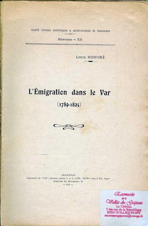 L'émigration dans le Var