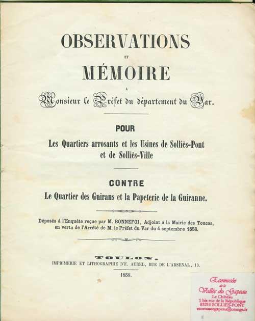 Observations et mémoire, pour le quartier arrosant, contre le quartier des Guirans