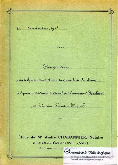 Convention du 23 décembre 1938 entre le Syndicat des Eaux du canal des Sauvans et Penchiers et M. Léandre Marcel, du 23 décembre 1938