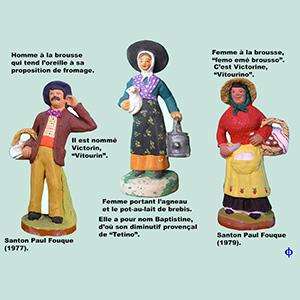 anton : femme à l'agneau et au pot a lait, femme et homme à la brousse.