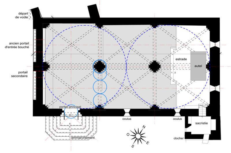 Plan de l'église à deux nefs, Solliès-Ville
