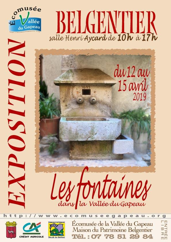 Affichette Belgentier : Les Fontaines dans la Vallée du Gapeau