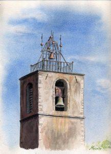Aquarelle de Maurice Valette : campanile.
