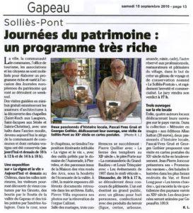 2010-09-18, Coupure : Journées du patrimoine : un programme très riche