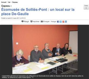 2011-03-01, Coupure 2011, Écomusée de Solliès-Pont : un local sur la place De-Gaulle