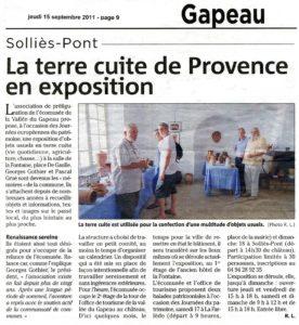 2011-09-15, Coupure, La terre cuite de Provence en exposition