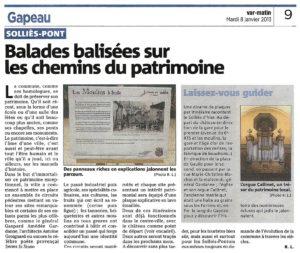 2013-01-08, Coupure : Balades balisées sur les chemins du patrimoine