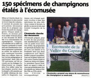 2015-11-16, Coupure : 150 spécimens de champignons étalés à l'écomusée