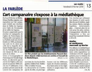 2019-02-08  Coupure : L'art campanaire s'expose à La médiathèque.