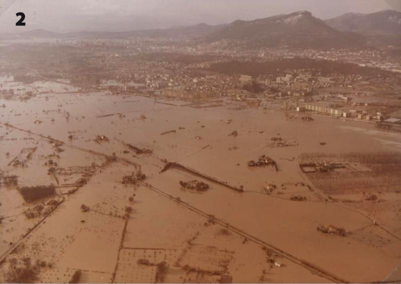 16 et 17 janvier 1978. Inondations du Gapeau, chemin communal de La Foux et plaine de la Garde.