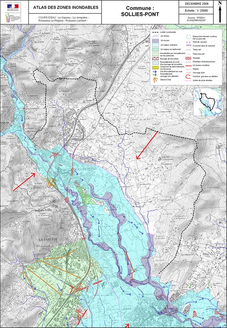 Commune de Solliès-Pont, Atlas des Zones Inondables