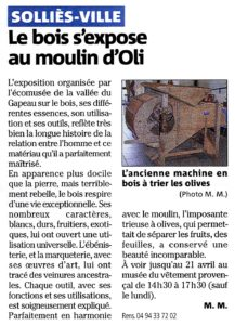 2013-04-00, Coupure de presse : Le bois s'expose au moulin d'Oli.