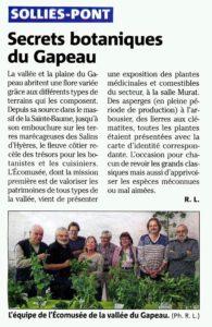 2014-03-14, Coupure : Secrets botaniques du Gapeau