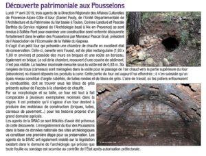 2019-04-01, Coupure : Découverte patrimoniale aux Pousselons.
