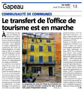 2020-01-23, Coupure : Le transfert de l'office de tourisme est en marche