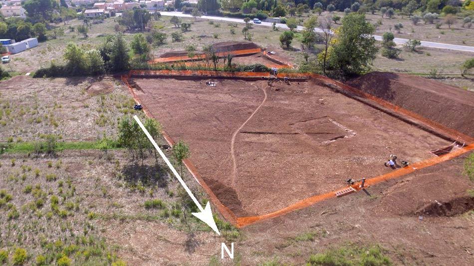 Plan de masse, fouilles des Laugiers Sud.