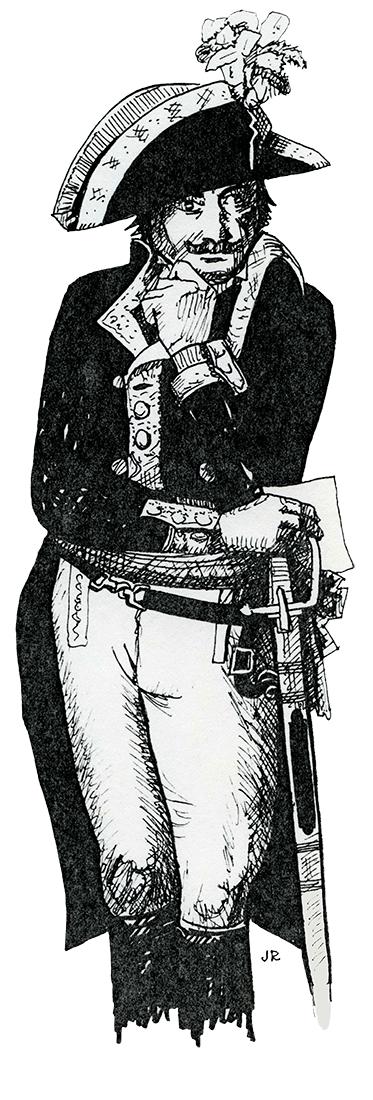 Dessin de Gardanne Gaspard Amédée en uniforme.