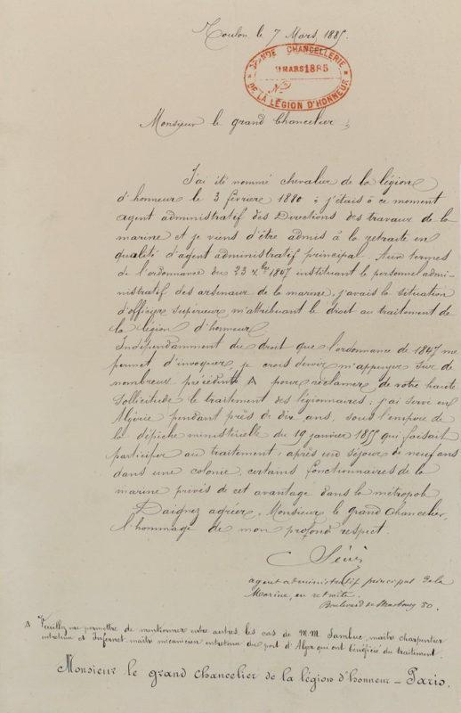 La Sinse, lettre légion d'honneur